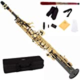 Cecilio 2Series SS-280BNG Black/Nickel Plated and Gold Keys Straight Bb Soprano Saxophone + Case, Reeds and Accessories