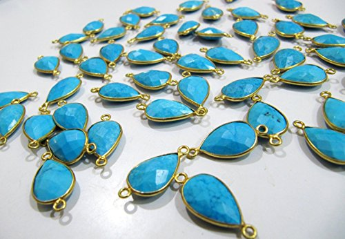 (Natural and Genuine Turquoise Magnesite Pear Shape Briolette Connector Double Loop, Size 11x16 mm, Gold Plated Semi Precious Gemstone Bezel)