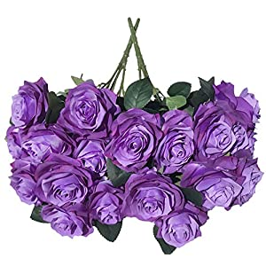 DALAMODA Purple Gradient Roses 2 Bundles(Total 20 Heads) Artificial Silk Flower Rose Bouquet (Purple Gradient #1) 117