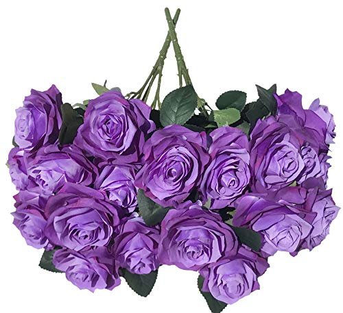 DALAMODA Purple Gradient Roses 2 Bundles(Total 20 Heads) Artificial Silk Flower Rose Bouquet (Purple Gradient ()