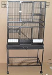Wrought Iron Flight Cage Bird Cage with Stand Black Vein, Metal Grate and Metal Tray, 30-Inch by 18-Inch by 62-Inch