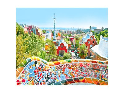 The Famous Summer Park Guell Over Bright Blue Sky In Barcelona, Spain Art Poster Print by Vladitto, 18x24 by Poster Revolution