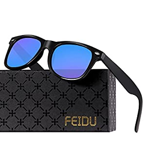 FEIDU Polarized Classic Retro Wayfarer Retro Sunglasses for Men Unisex FD 2149 (Blue/Matte black, 2.08)