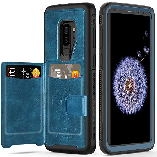 Galaxy S9 Plus Wallet Case, Samsung S9 Plus Wallet Case with Card Holder Slots Shockproof Protective Case for Samsung Galaxy S9+ 6.2 inch (2018) [Blue+Black]