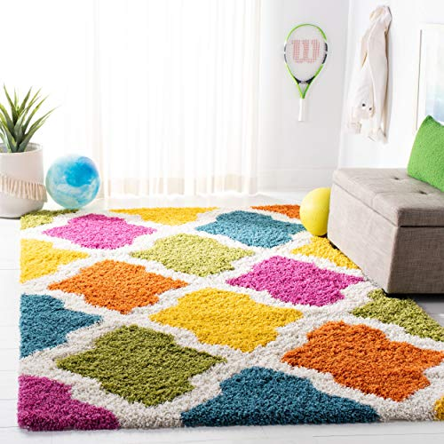 - Safavieh Kids Shag Collection SGK562A Ivory and Multi Area Rug (8' x 10')