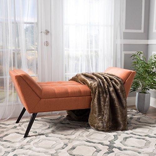Christopher Knight Home 299607 Living Madrid Orange Fabric Bench 19.50D x 52.00W x 23.50H