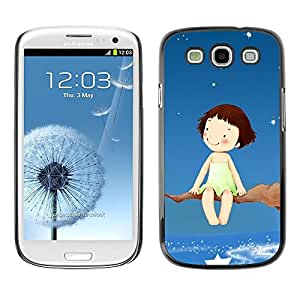 Be Good Phone Accessory // Dura Cáscara cubierta Protectora Caso Carcasa Funda de Protección para Samsung Galaxy S3 I9300 // Dream Tree Branch Stars Sky Girl Happiness Art