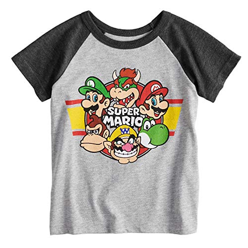 - Jumping Beans Toddler Boys 2T-5T Super Mario Bros. Raglan Graphic Tee 3T Heather Gray