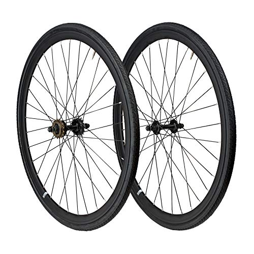 6KU 700C Deep V Alloy Fixie Wheelset, Matte Black