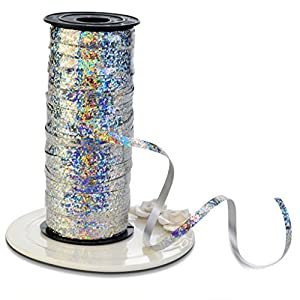 Crimped Curling Ribbon Roll, Nydotd 100 Yard Metallic Silver Balloon Ribbons Strings for Party Festival Flowers Crafts Christmas Gift Wrapping, 5 mm Width