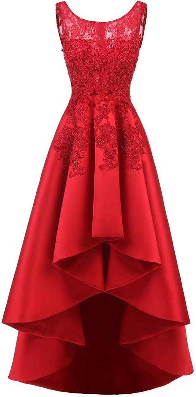 Damen Abendkleider mit Schnüren Zurück Lang Front Kurz Elegant