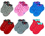 Cheap Liwely 6 Pairs Baby Girls Socks, Ankle socks for 3 – 15 Months Infants, Polka Dot Bow