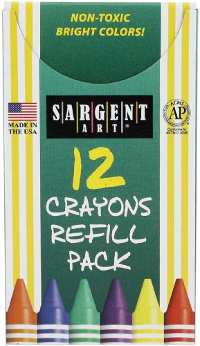 (Sargent Art 22-0896 12-Count Tuck Box Standard Size Crayon Refill, White)