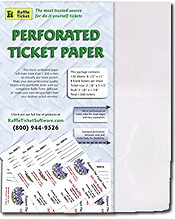 amazon com perforated ticket paper white 67lb card greeting