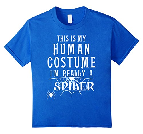 Kids Spider Fun Halloween Costume Shirt Humor Tee Men Boys Girls 4 Royal (College Humor Halloween Ideas)