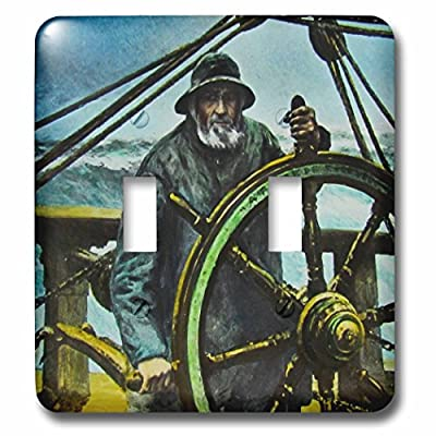 Scenes from the Past Magic Lantern - Victorian Sea Captain at the Ships Wheel Vintage Old Salty - Light Switch Covers - double toggle switch (lsp_246216_2)