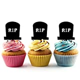 TA0474 Grave RIP Silhouette Party Wedding Birthday Acrylic Cupcake Toppers Decor 10 pcs