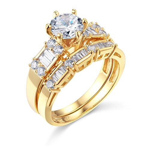 TWJC 14k Yellow Gold SOLID Wedding Engagement Ring and Wedding Band 2 Piece Set - Size 5