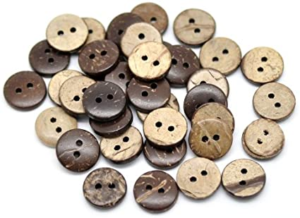 18mm MADE FROM NATURAL MATERIAL 6 REAL COCONUT SHELL BUTTONS