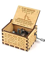 Music Box, Wooden Engraved Vintage You are My Sunshine Music Box Pure Hand-Classical Creative Wooden Crafts Best Gift and Toys to Daughter for Birthday/Christmas (Dad to Daughter)