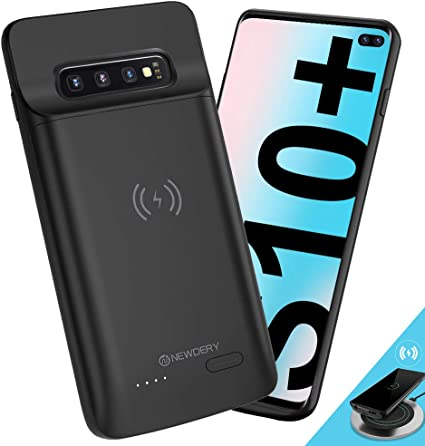 NEWDERY Upgraded Samsung Galaxy S10 Plus Battery Case Qi Wireless Charging Compatible, 5000mAh Slim Rechargeable Portable External Charger Case ...