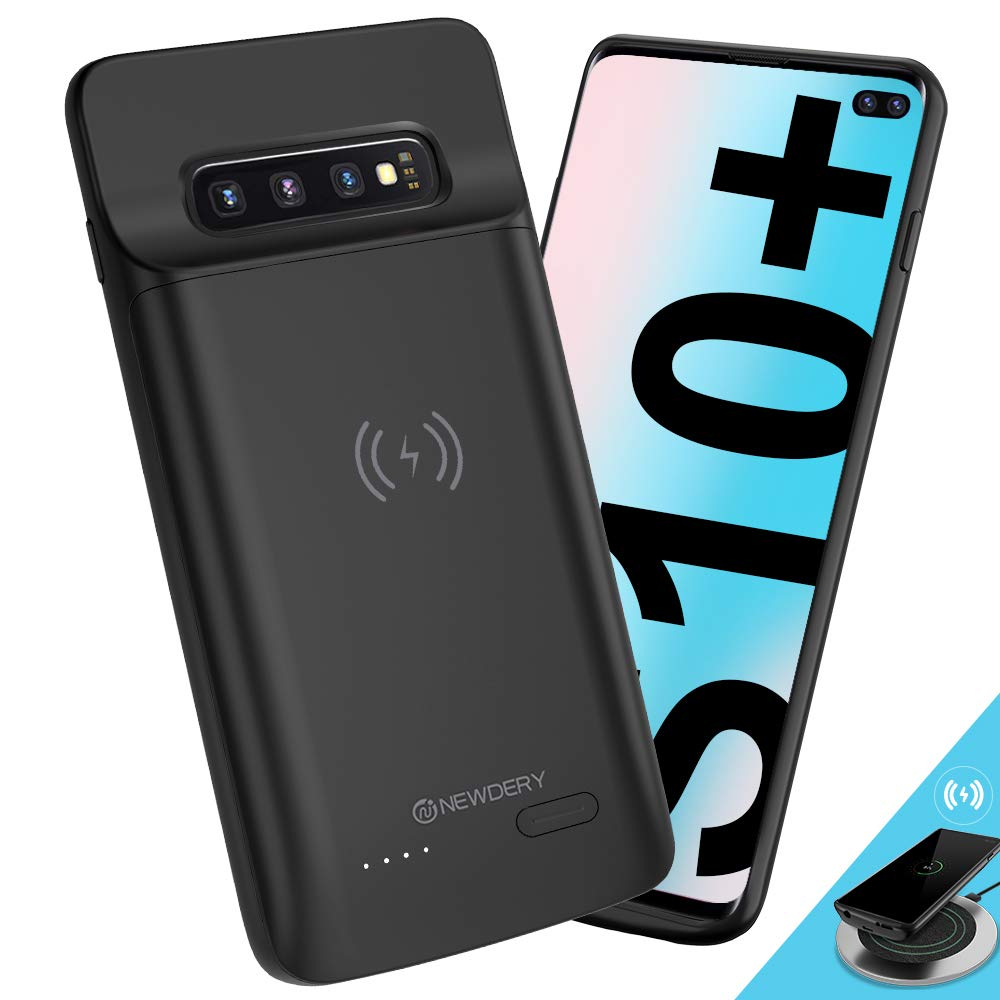 NEWDERY Upgraded Samsung Galaxy S10 Plus Battery Case Qi Wireless Charging Compatible, 5000mAh Slim Rechargeable Portable External Charger Case Compatible for Samsung Galaxy S10+ (6.4 Inches Black) by NEWDERY