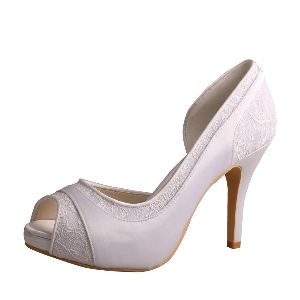 Wedopus MW702 Women High Heel Satin and Lace Pumps Open Toe Bridal Wedding Shoes Platform B01KVC0VW8 5 B(M) US|White