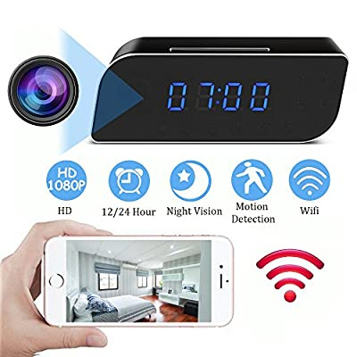 MINGYY Hidden Camera Clock HD 1080P WiFi Spy Camera Wireless Night Vision Camera Motion Activated Camcorder Photo Record Monitoring for Home Office Security Surveillance by WH13-MY01-WHC