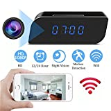 Hidden Camera Clock HD 1080P Wifi Spy Camera Wireless Night Vision Camera Motion Activated Camcorder Photo Record Monitoring for Home Office Security Surveillance