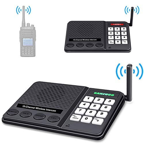 Wireless Intercom System (2019 New Version) with High Sensitivity Antenna, Max 1.1 Mile Long Range in Open Space, 10 Channel x 3 Code Intercoms Wireless for Home Business Church College and Restaurant