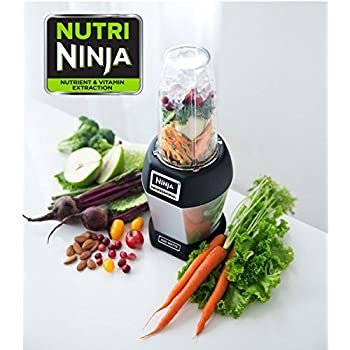 Nutri NINJA BL455 Professional 1000 watts Personal Blender Bonus Set with 3-Sip & Seal Single Serves(12, 18, and 24-Ounce Cups) & 75-Recipe Cookbook