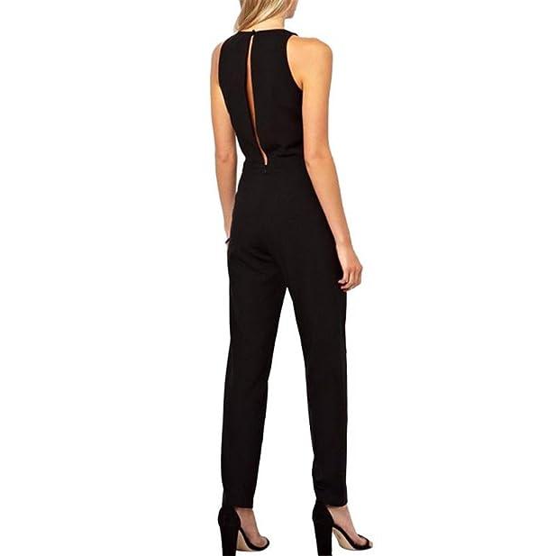 Amazon.com: Edgar Dur 2016 Summer Elegant WomenS Rompers Jumpsuit Casual Solid Bodysuit Sleeveless Crew Neck Long Playsuits Plus Size: Clothing
