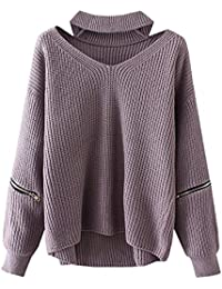Women's Solid Choker V Neck Long Sleeve Loose Knit Sweater Jumper Top