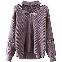 Futurino  Solid Corpiño cuello en V de la mujer de manga larga Loose Knit Sweater Jumper parte superior