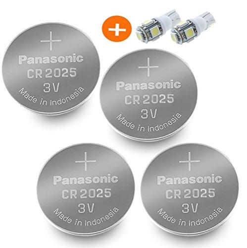 2 Cr2025 Batteries (Panasonic ( 4 Pieces - CR2025 + 2 Bonus LED Bulbs ) Lithium Coin Cell Battery)