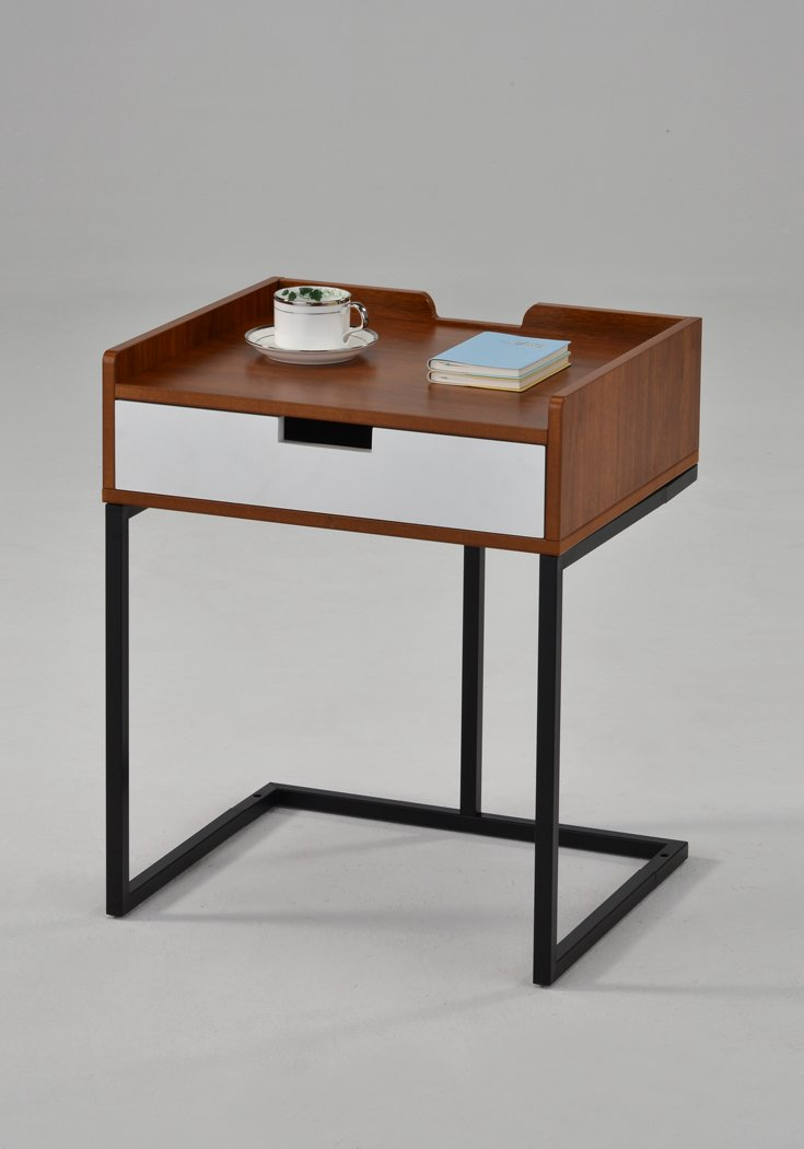 """Dark Oak/White Drawer/Metal Frame Nightstand Side End Table 22.5"""" H - Modern Mid-Century Style - Color: Dark Oak / White / Black Material: Metal, MDF/Hardwood Features one drawer and a table top with side trim - nightstands, bedroom-furniture, bedroom - 51ycfMQVxSL -"""