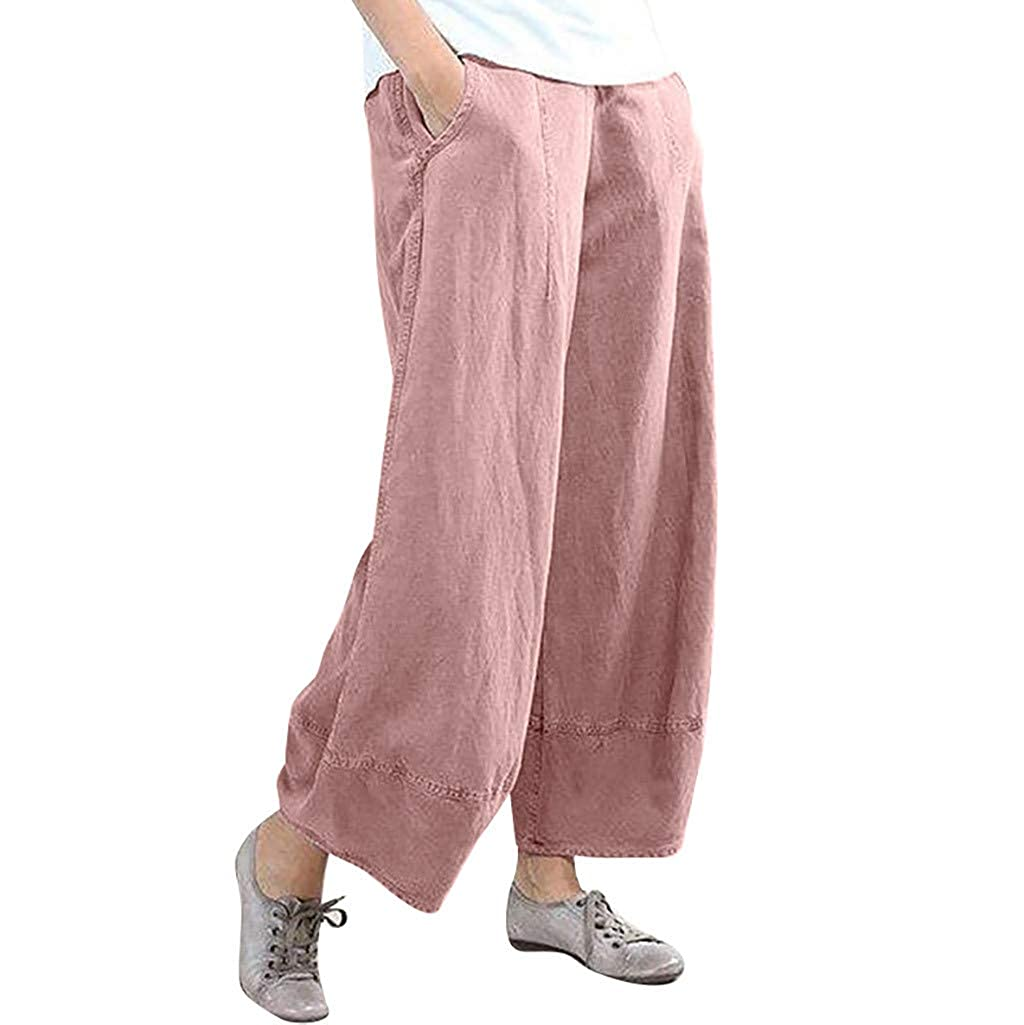 Saihui_Women Jumpsuits Women's Linen Pants Lantern Wide Leg Elastic Waist Long Trousers Cotton Summer Loose Solid Color Harlan Pants with Pockets Baggy Casual Capri Pants