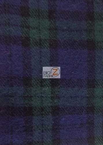 Apparel Flannel - Tartan Plaid Uniform Apparel Flannel Fabric - Navy/Hunter - Sold by The Yard Checkered #5