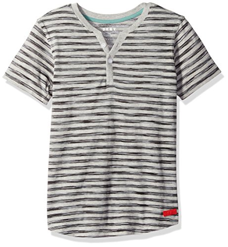 DKNY Boys' Big Short Sleeve Space Dye Striped Jersey Henley Shirt, Black, 18/20