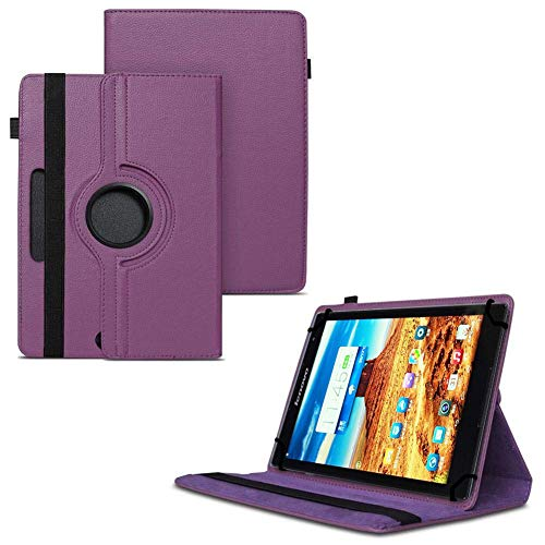 TGK 360 Degree Rotating Universal 3 Camera Hole Leather Stand Case Cover for Lenovo S8 50 8 inch Tablet Purple