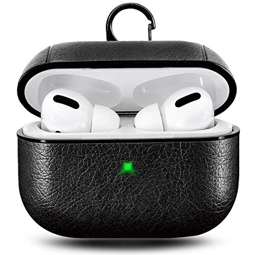 M.G.R.J® Leather Skin Fit Vintage Matte Leather Hook Case Cover for Apple Airpods Pro (Black)