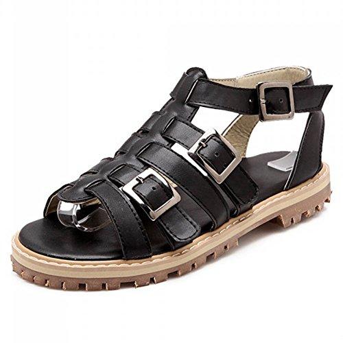 Chfso Womens Casual Rome Strappy Buckle Flats Hol Sandalen Schoenen Zwart
