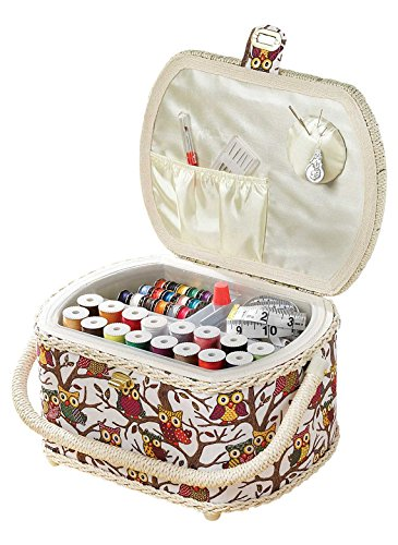 Michley Sewing Basket with 41-PC Sewing Kit (Michley Lil Sew & Sew Mini Sewing Machine)