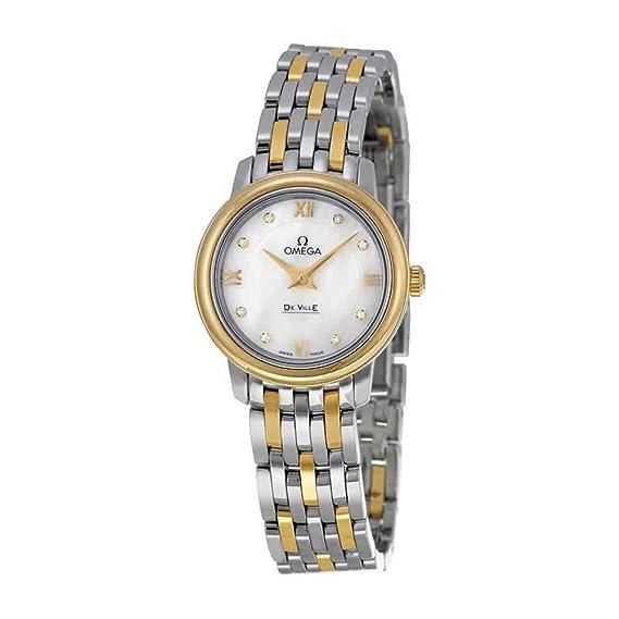 Omega 24 mm pulsera de acero y oro de 18 K de la mujer reloj de cuarzo 42420246055001: Amazon.es: Relojes