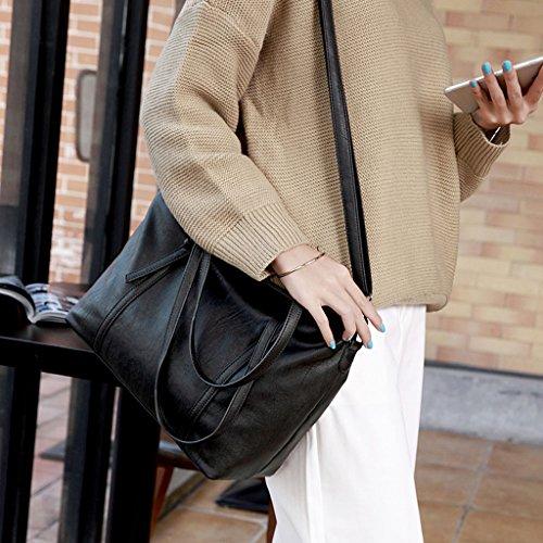 PU para el la mujer de fecha bolso hombro de que capacidad Bolso minimalista bolso grande de de negro la la la material del trabajo Color Black Black coche del el de Bolso del hace PU que compras CSwUq