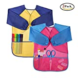 Kids' Art Aprons Waterproof Smocks Long Sleeve with 3 Pockets for Age 3-6 Children Painting and Cooking Pack of 2