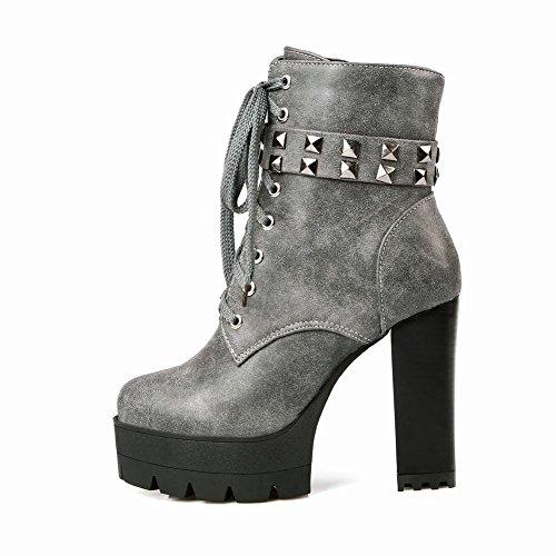 Mee Shoes Damen Reißverschluss chunky heels Plateau Stiefel Grau