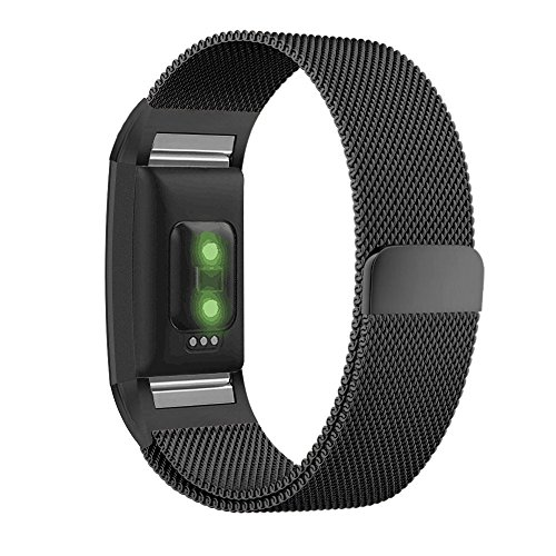 Fitbit Charge 2 Bands, UMTELE Milanese Loop Stainless Steel Metal Bracelet Strap with Unique Magnet Lock, No Buckle Needed for Fitbit Charge 2 HR Fitness Tracker