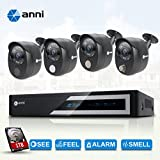 anni 4-Channel 1080N Digital Video Recorder with 1TB HDD and 4 x 1080p Wired Infrared Cameras, Built-in Gas sensor alarm, PIR body detection, Siren sounds