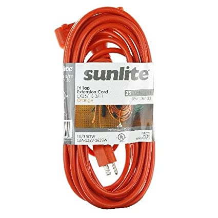 50 14//3 Gauge Sunshine Lighting EX50//14//3//TT//O 50/' 15 Amp 14//3 Three Prong Orange Sunlite 04195-SU Heavy Duty 50 Feet Three Outlet Extension Cord 14//3